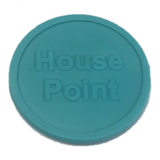 25mm Aqua Embossed House Point Tokens