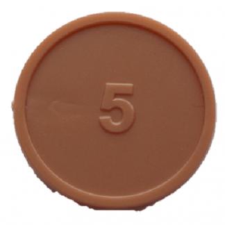 25mm Bronze Numbered 5 Tokens