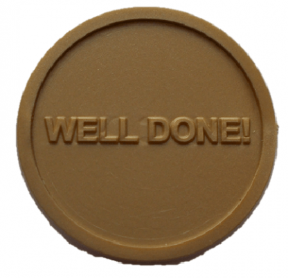 25mm Gold Embossed Well Done! Tokens