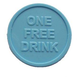25mm Light Blue Embossed ONE FREE DRINK Tokens