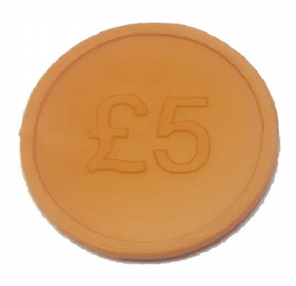 25mm Orange £5 Currency Tokens