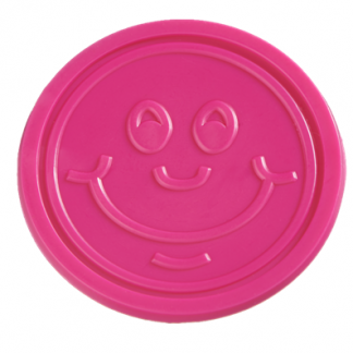 25mm Pink Embossed Smiley Face Tokens