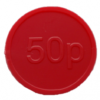 25mm Red Embossed 50p Currency Tokens