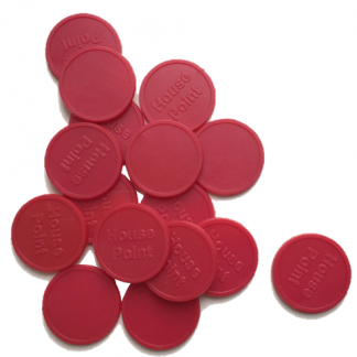25mm Red Embossed House Point Tokens