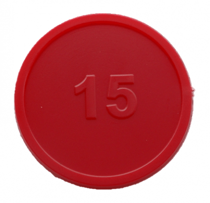 25mm Red Numbered 15 Tokens