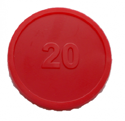 25mm Red Numbered 20 Embossed Tokens