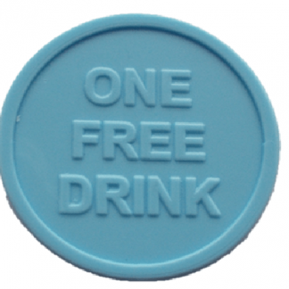 25mm Red Embossed ONE FREE DRINK Tokens