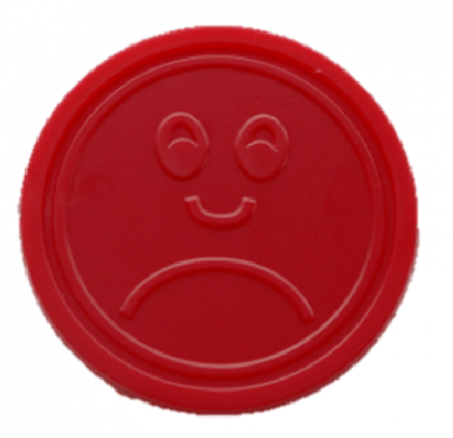 25mm Red Embossed Sad Face Tokens