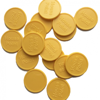 25mm Yellow Embossed House Point Tokens
