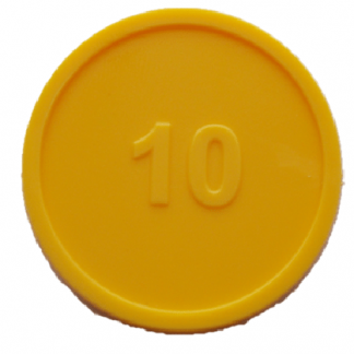 25mm Yellow Numbered 10 Tokens