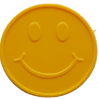 35mm Yellow Embossed Smiley Face Token