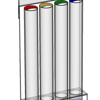 54mm 4 Tube Desktop Collector with Red, Yellow, Green and Blue Bases
